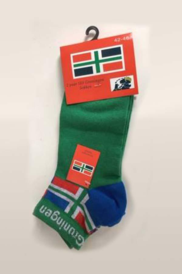 Groninger sokken met groene voet