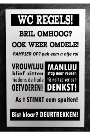 Groninger tekstbord: wc regels...