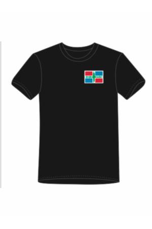 T-shirt met aarbevingsvlag voorkant